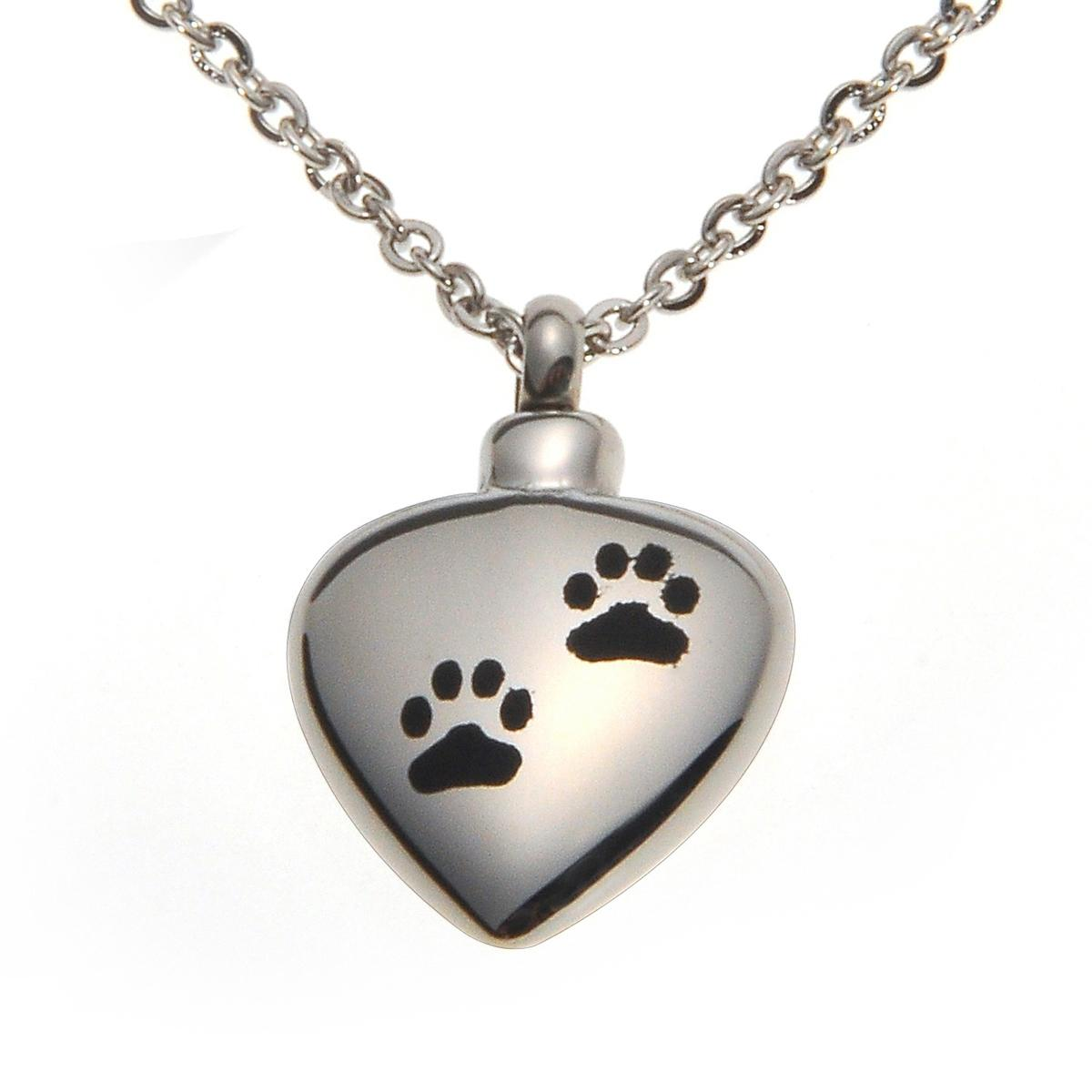 Stainless Steel Pet Dog/Cat Paw Waterproof Cremation Urn Necklace Ash Memorial Jewelry with gift bag and chain