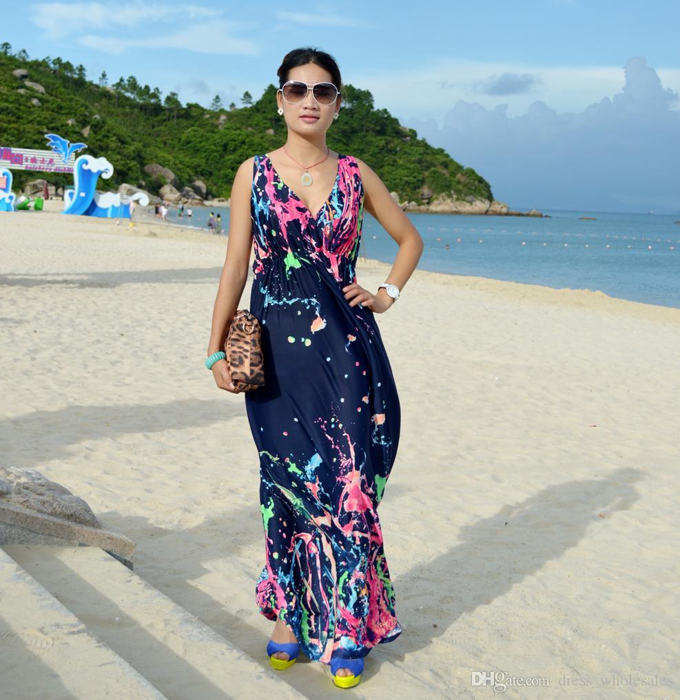 2015 New boho dress to party watercolor women dress bohemian Long ...