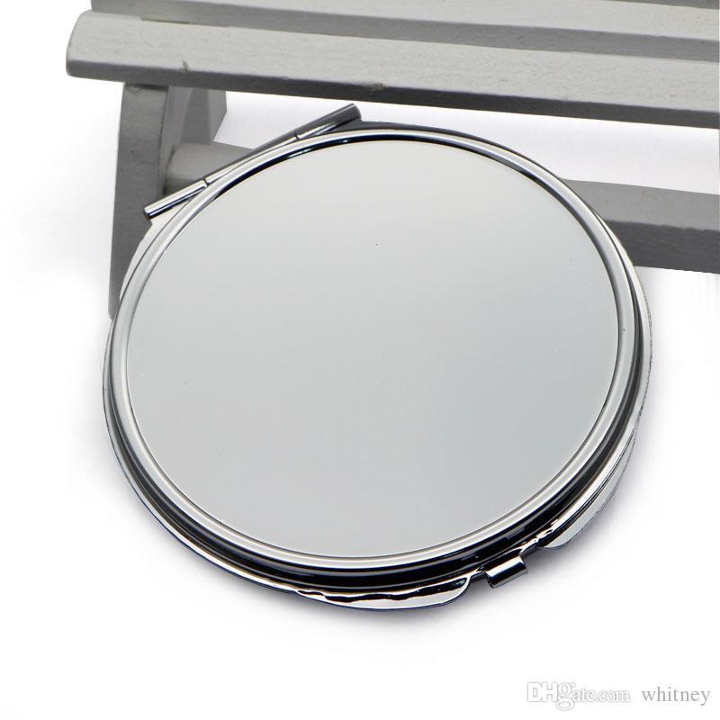 Espeso grueso compacto espejo redondo plata bolsillo bolso espejo grande tamaño 72mm m0840h gota envío