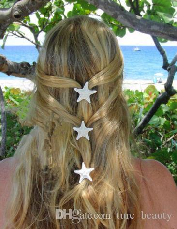 Handmade the diy hairpins natural real starfish side folder top clip duckbill clip hair accessories headdress stay sea aw 30pcs/