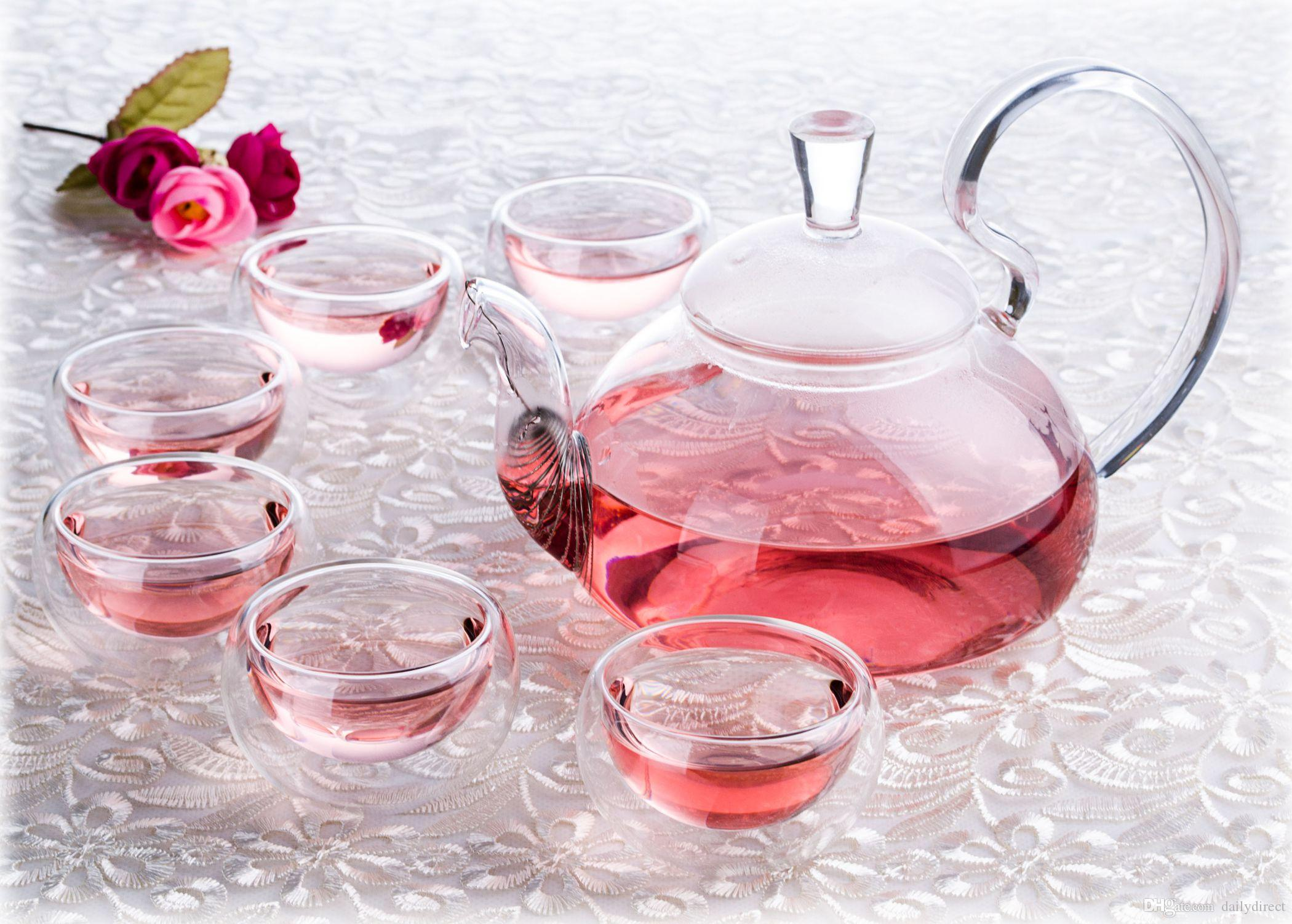 1x Teapot Set - 780ml High Handle Heat-Resisting Glass Teapot + 6x Double Walled Cups + Round Teapot Warmer