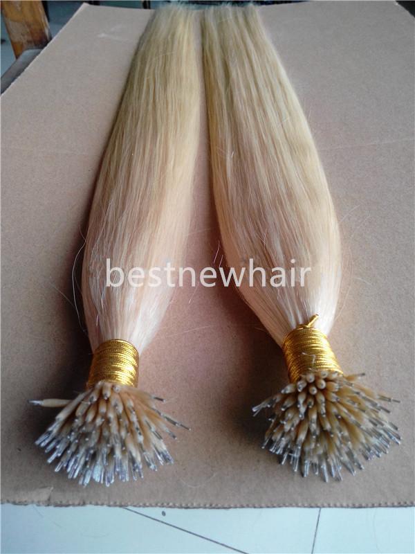 """18 """"20"""" 22"""" Nano Loop INDIAN REMY extensión del pelo humano 100g / pk 100beads 1g / s de color # 60 Nano Tip del pelo remy indio Nano Extensiones de pelo de los anillos."""