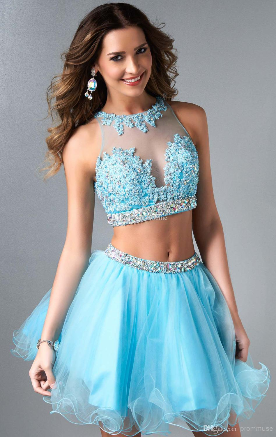 8a47365a9d45 Brand New 2015 Two Piece Short Prom Dress Cheap Sheer Neck Appliques Beads  Crystal Ball Gown Homecoming Dresses Girls' Party Gown Under $100