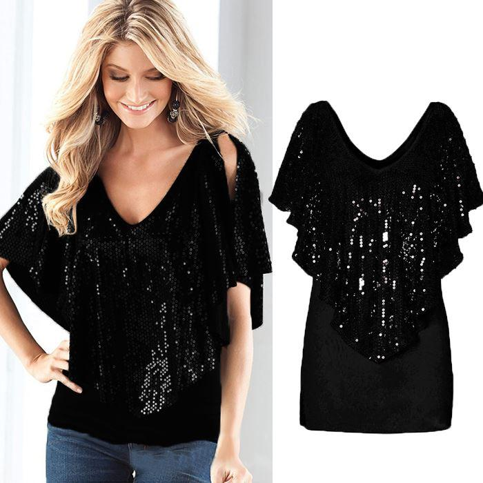 where can i buy best selling quality Women Sexy V Neck Sequin Sparkle Glitter Tank Short Sleeve Top T Shirt  Blouse Cool And Funny T Shirts Buy A T Shirt From Walked2, $21.09|  DHgate.Com