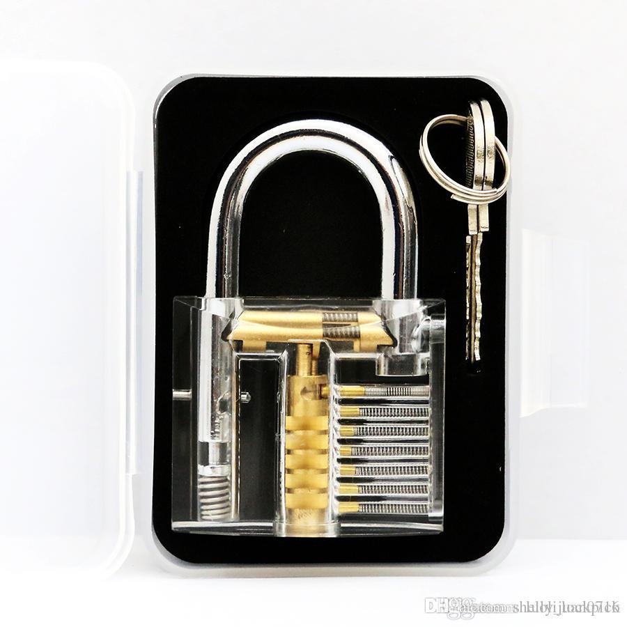 çilingir acemi eğitim araçları için 2 anahtar yüksek kaliteli açık şeffaf uygulama asma kilit seti almak kilitlemek