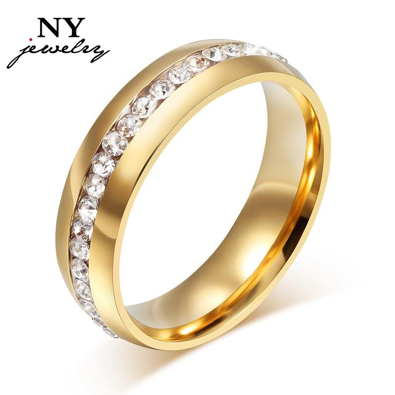 Anéis de casamento de cristal 18k banhado a ouro para desconto de promoção de anel de aço inoxidável wome