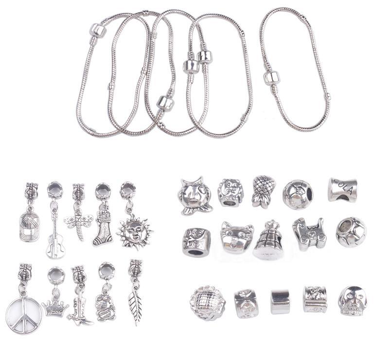 l Set of European Style Dangler Stopper Bead Charm Bracelets #91433