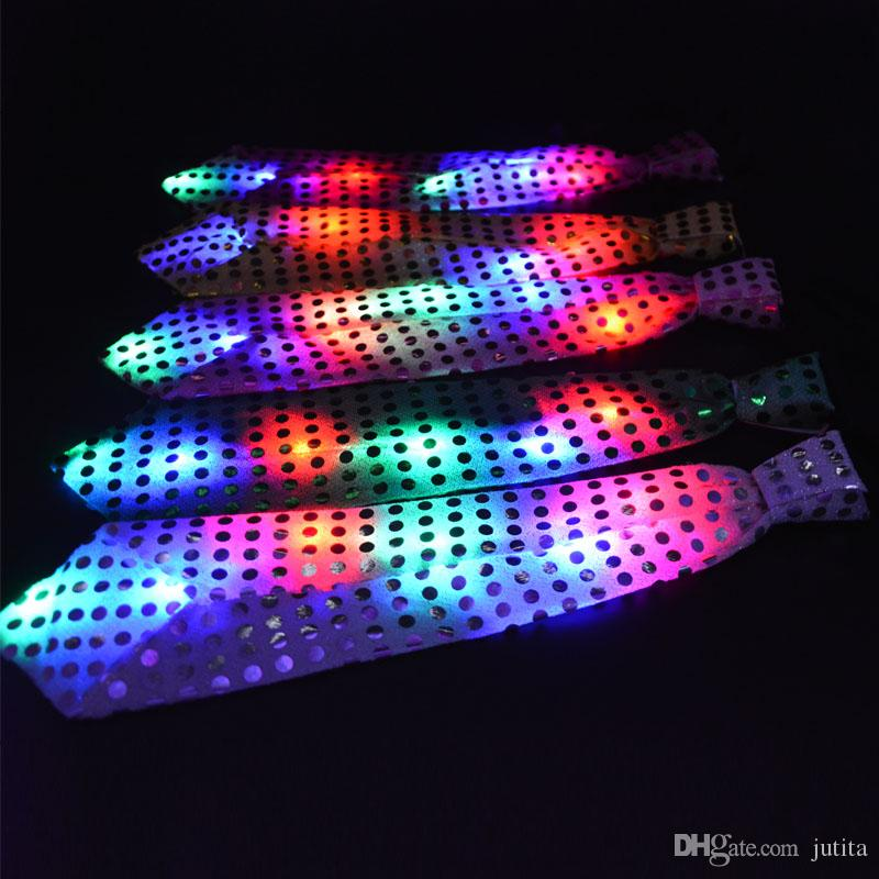 Fun Light-Up Neck Tie Sequins LED Flashing Blinking Birthday Favors Fun Carnival Party Decoration Fashion Accessories
