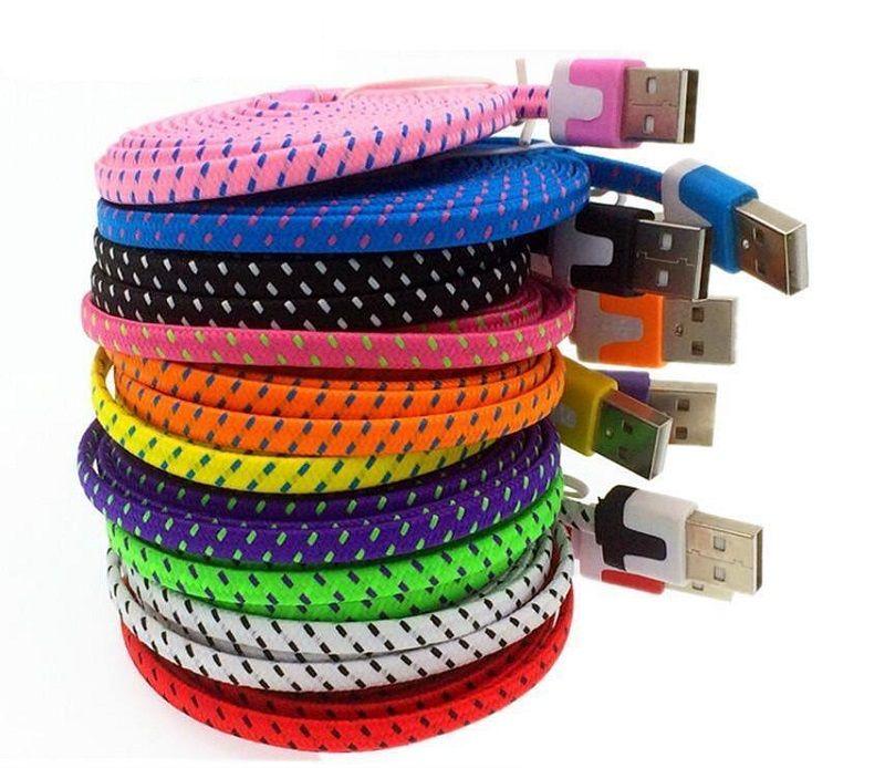 Da 1m 2m 3m micro v8 5pin Tipo C Tipo-c tecido plano de macarrão de dados USB cabo de carregamento para Samsung S4 S6 S7 S8 borda para HTC lg g5 etc telefone