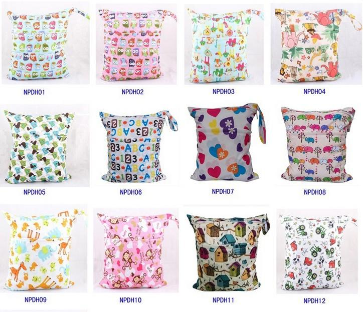 25PCS Animal Printed Baby Zippered Wet Dry Diaper Bag - Waterproof Wet and Dry Cloth Diaper Bags Wet Swimsuit Bag 33*28cm K6982 BJ