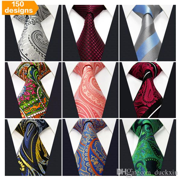 Free Shipping Wholesale Assorted Mens Tie Neckties Silk Fashion Classic Handmade Wedding High Quality Paisley Stripes Plaids Dots