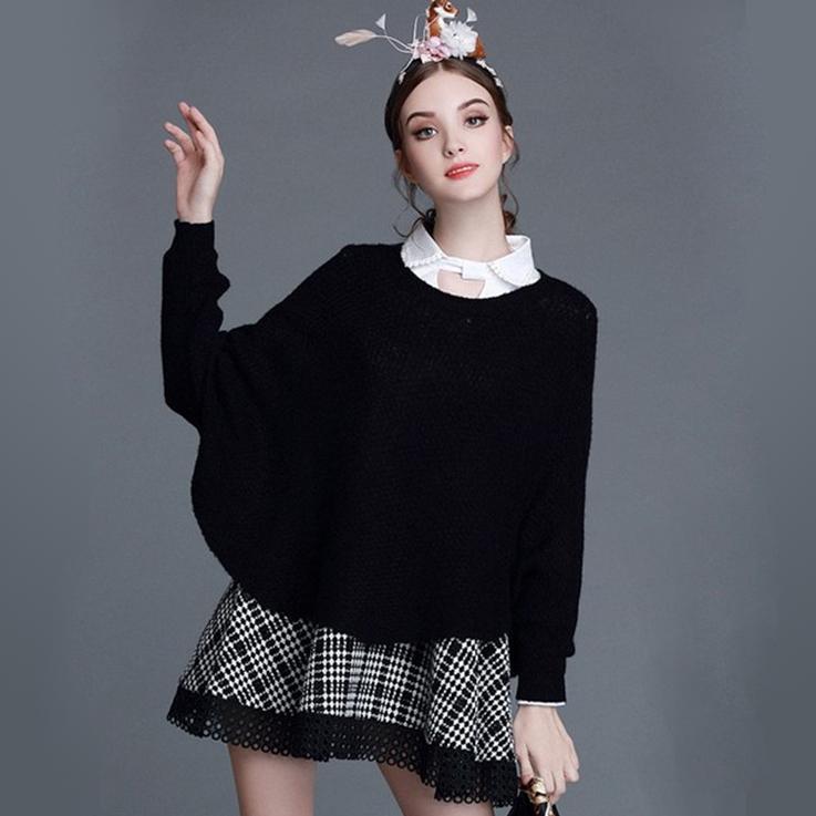 두 조각 드레스 여성 의류 패션 플러스 크기 미디 싼 캐주얼 드레스 여성 박쥐 슬리브 니트 스웨터 + 격자 무늬 맥시 드레스 여성