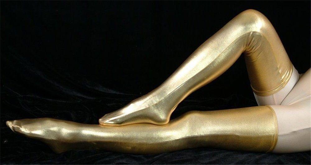 Darmowa Wysyłka Pale Gold Shiny Metallic Akcesoria Zentai Pończochy Party Halloween Dorosłych Kostiumy 6 Rozmiary