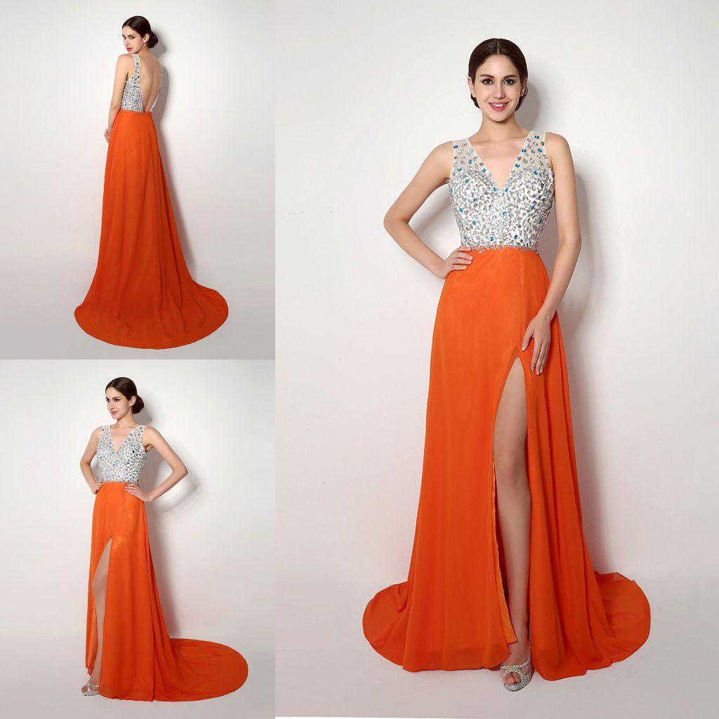 2018 In Stock Orange Designer Prom Dresses under 50 V-Neck evening gowns Side Split Crystals Backless Evening Gowns Long Party Formal Dress