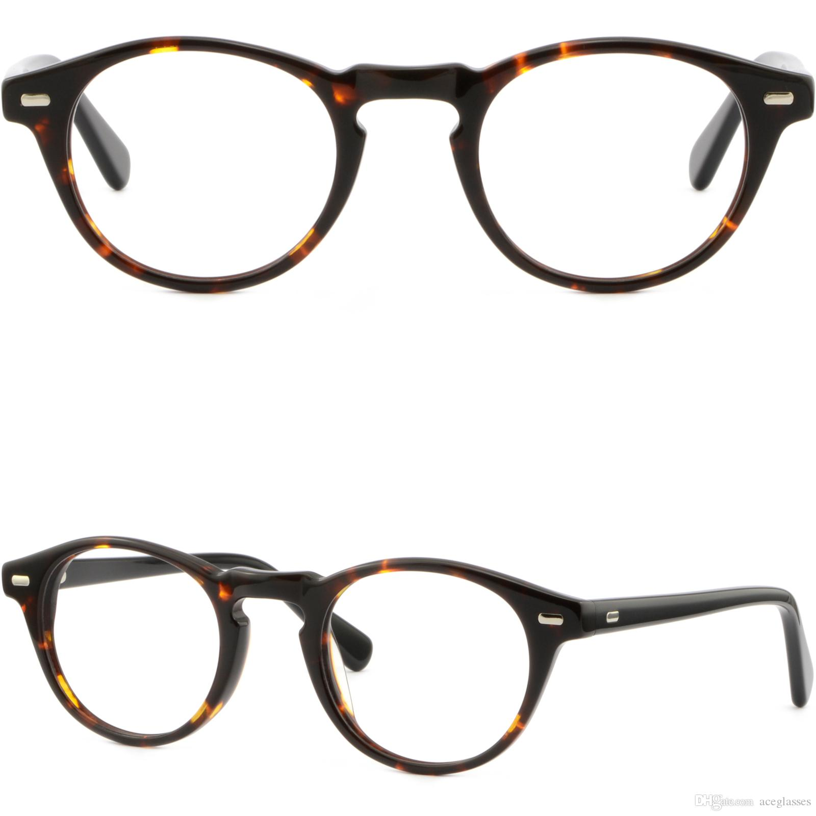 Occhiali da vista da uomo in plastica con cerniera a molla Occhiali in argento con accenti tartaruga