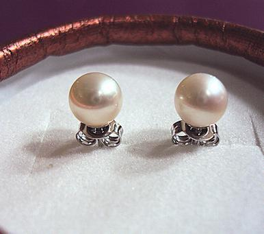 Hot sale 8-9mm natural pearl earrings perfect circle 925 silver HFY1603