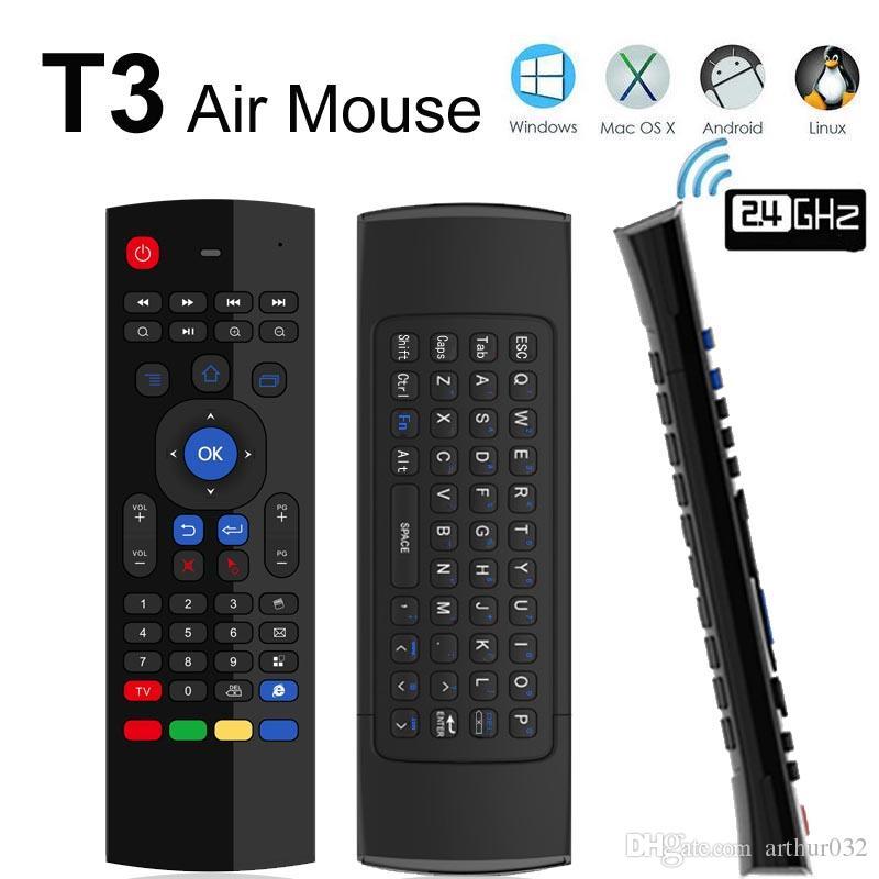 T3 2.4 جيجا هرتز Fly Air Mouse T3-M لوحة مفاتيح صغيرة QWERTY تحكم عن بعد لاسلكية مع Mic VS MX3 X8 6-Axis Gyroscope Gamepad لجهاز تلفزيون Android