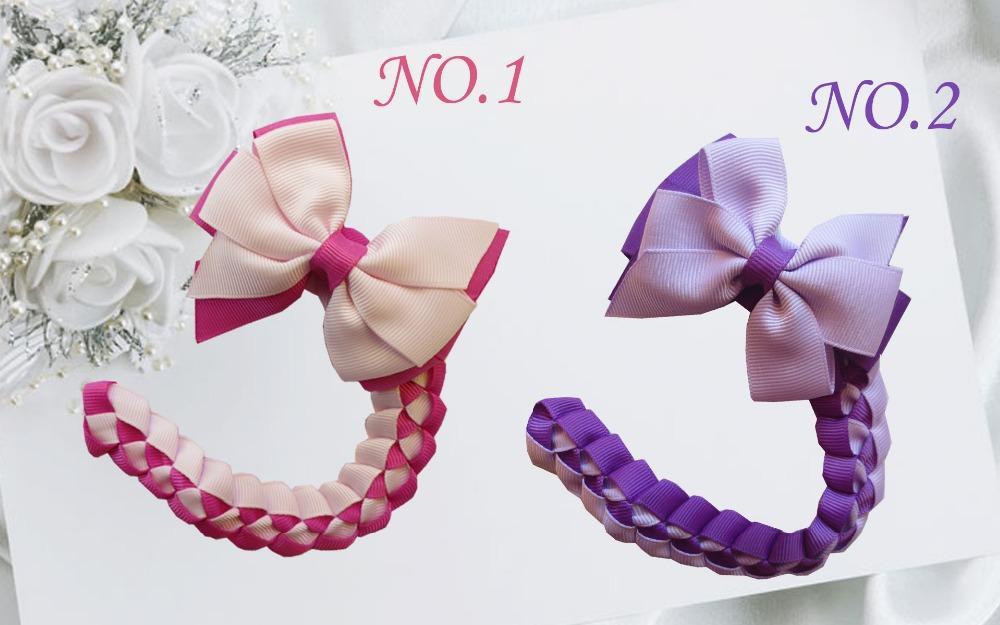 Fashion Headwear 18pcs Blessing Girl Braid 3 .5 Inch Double Abby Bow Hair Clip Hand Customize Hair Accessories