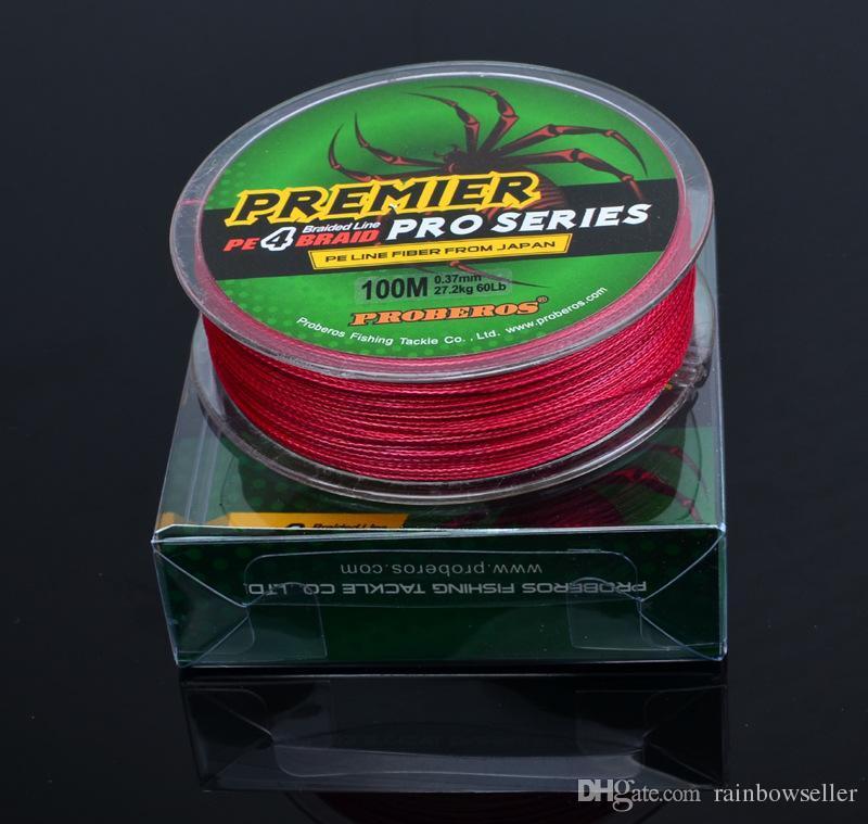 브레이드 낚시 줄 PREMIER 시리즈 4 스트랜드 스펙트럼 오션 락 라인이 일본 18LB ~ 100 파운드에서 PE 와이어 섬유를 100M PRO