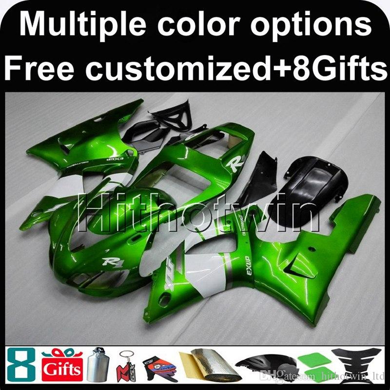 23colors+8Gifts GREEN motorcycle cover for Yamaha YZF-R1 1998-1999 98 99 YZFR1 1998 1999 98-99 ABS Plastic Fairing