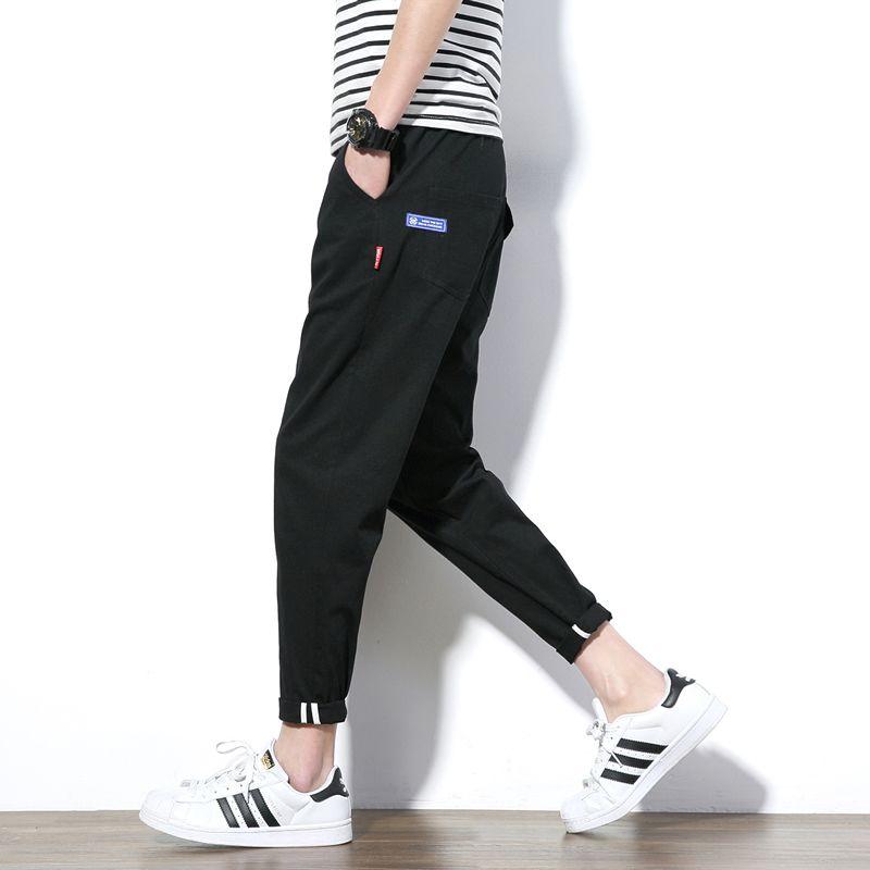 Wholesale- 2017 Summer Style Casual Pants Men Khaki Army Green Ankle Length Men Pants Korean Slim Fit Cotton Male Trousers Plus Size 5XL