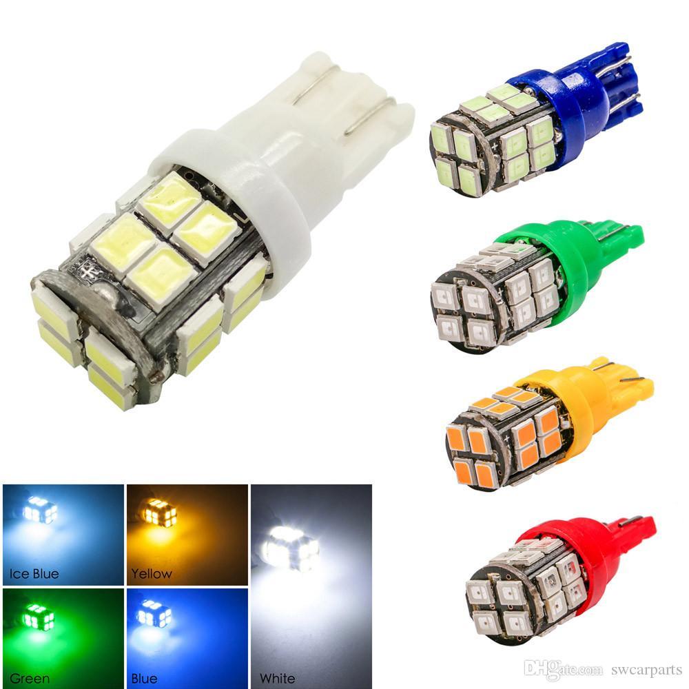 T10 LED Bianco / Blu / Giallo (ambra) / Verde / Blu ghiaccio 12V 20SMD 2835 W5W Indicatori di direzione laterali per auto Mappa della cupola Lampadina della targa