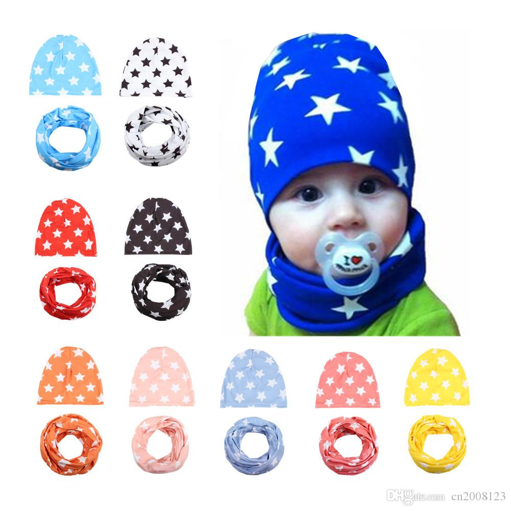 Hot Sale Fashion Baby Boys Girls Star Beanie Cotton Hats Scarf Set 2 Pcs Set Toddler Cap Child Spring warm knitted hat BW105