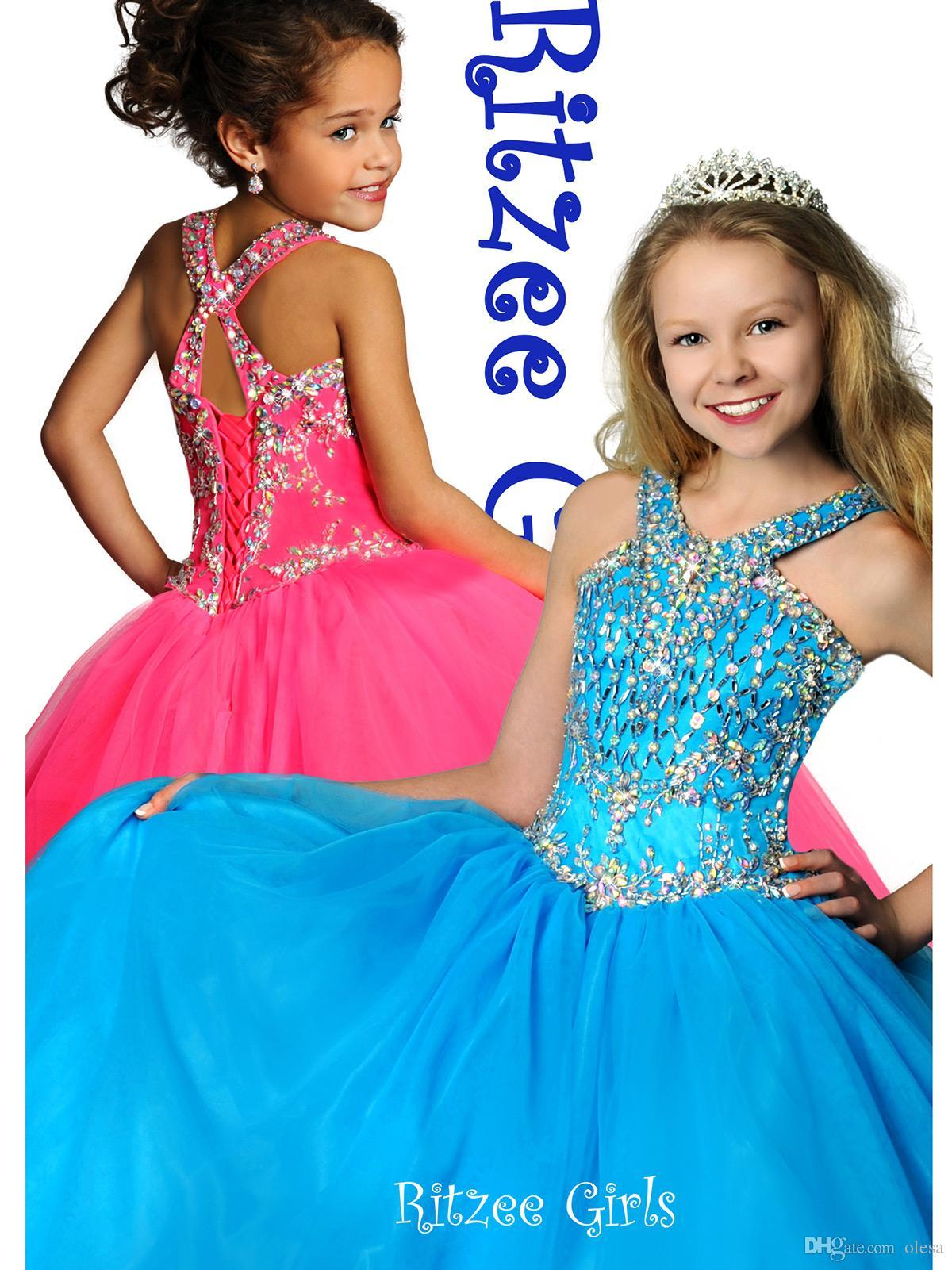 Discount 2015 Cheap Blue Pageant Dresses For Girls Floor Length