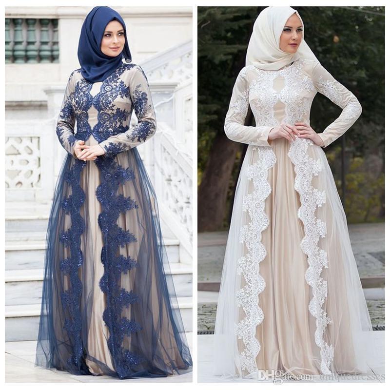 2017 muslimischen Abendkleider Mit Langen Ärmeln Spitze Appliques Eine Linie Elegante Sweep Zug Arabisch Abendkleider