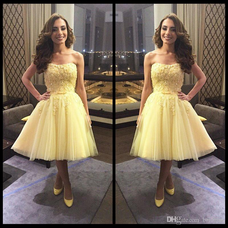 Elegant Vestidos para festa Sexy Sweetheart Yellow Tulle Short Prom Dresses 2015 New Elegant Lace Applique Beads Evening Dresses