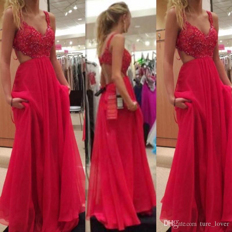 2019 Red Prom Dresses Spaghetti-Trägern Backless Chiffon A-Linie Fashion Long Holiday Hochzeiten Gast Abendgesellschaft Kleider nach Maß