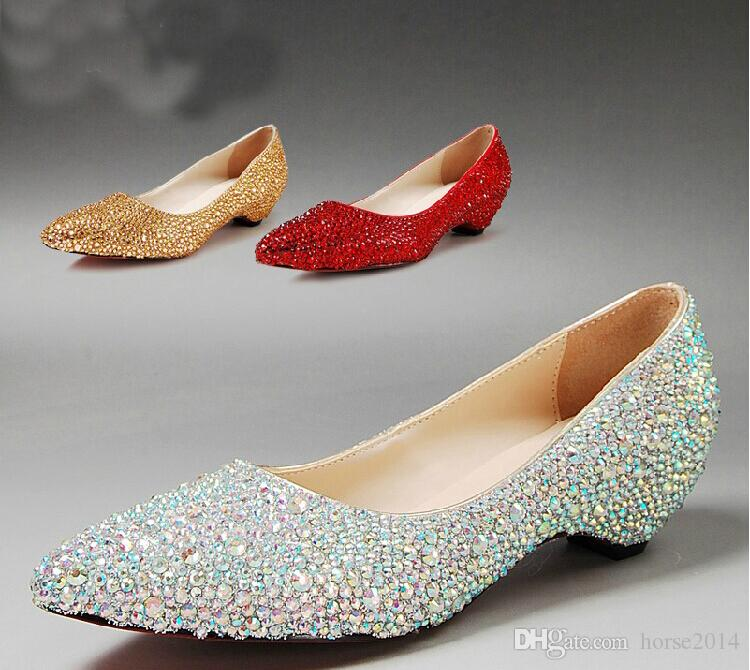 Ny mode Pointed Toe Wedding Party Dress Shoes Bridal Shoes Sparkling Silver Bridesmaid Shoes Kitten Heel AB Crystal Mother Bride Shoes