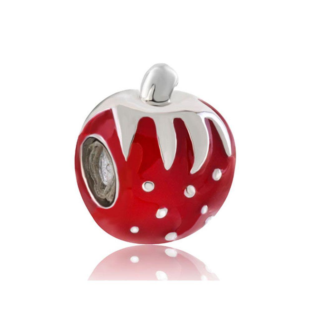 Fashion women jewelry DIY European red enameled fruit strawberry metal bead loose charms fits Pandora charm bracelet