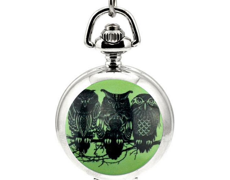 Горячие продажи уникальный дизайн анимация мультфильм сова эмаль белая сталь взять зеркало кварц кулон ожерелье карманные часы