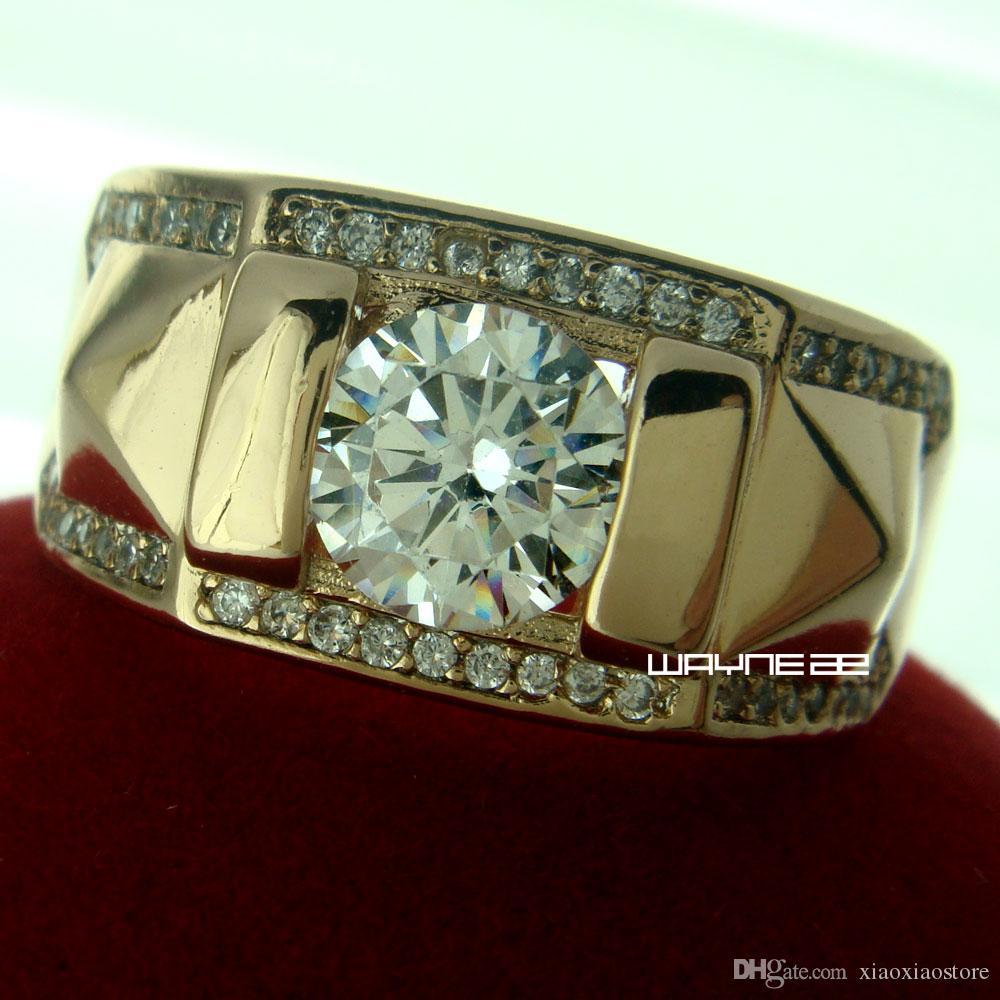 Taglia Q-Z + 5 gioielli in oro 18kt placcato topazio UOMO nozze gli amanti anello regalo R245