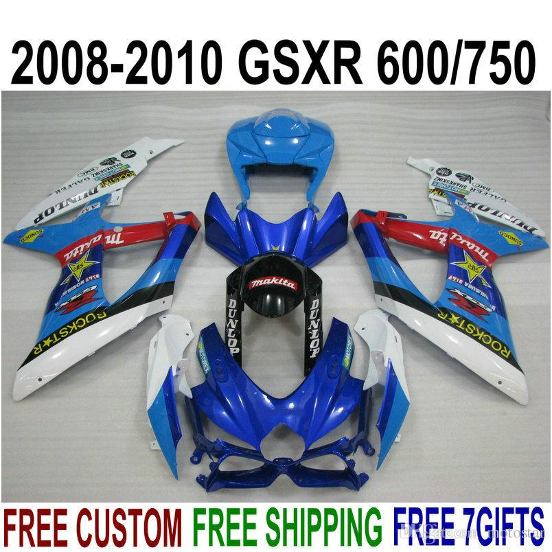 ABS fairing kit for SUZUKI GSX-R750 GSX-R600 2008 2009 2010 K8 K9 blue white black fairings set GSXR 600 750 08-10 TA20