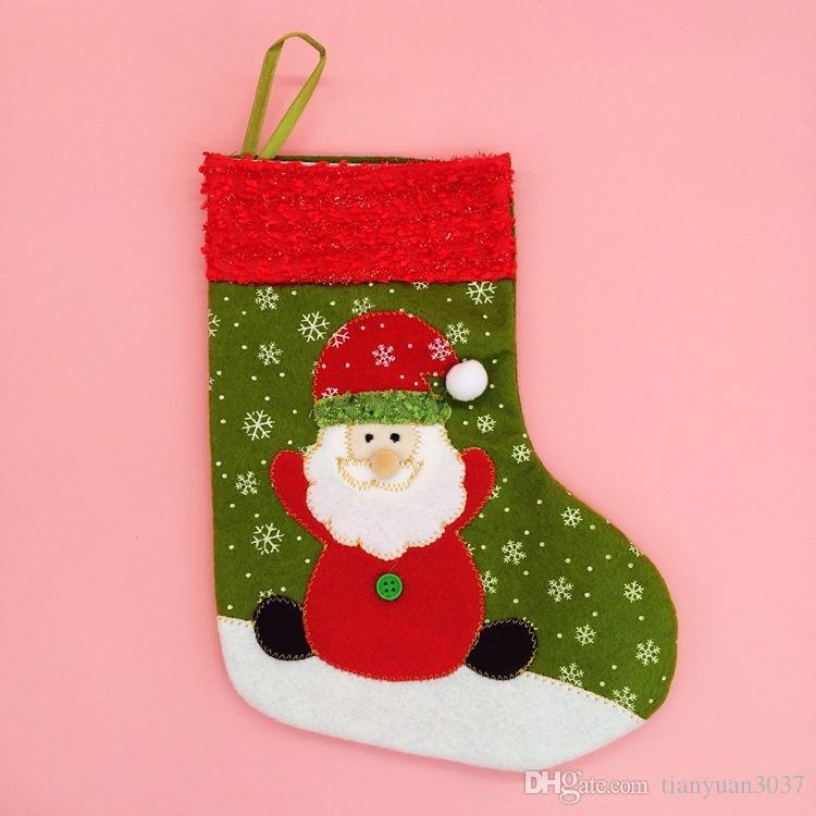 Горячие продажи Новый год 26 см высота Снежинка рождественские носки Рождественский подарок упаковка украшения дерево украшение рождественские поставки TY1656