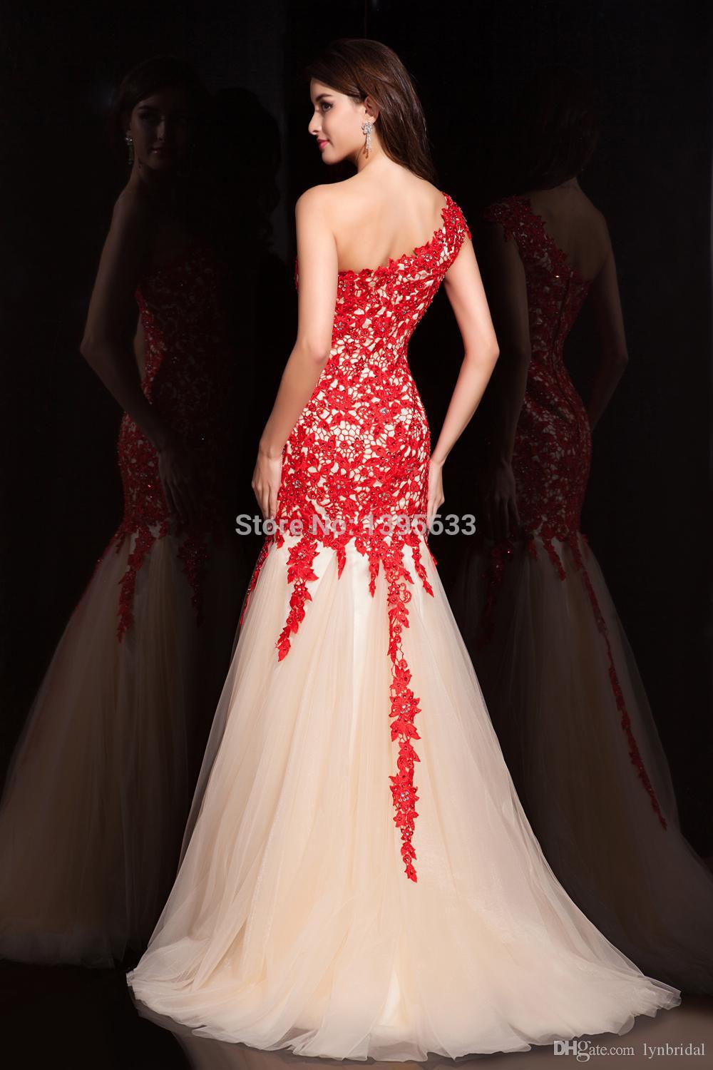 Red Lace Formal Dresses One Shoulder Mermaid Pattern Champagne Skirt ...