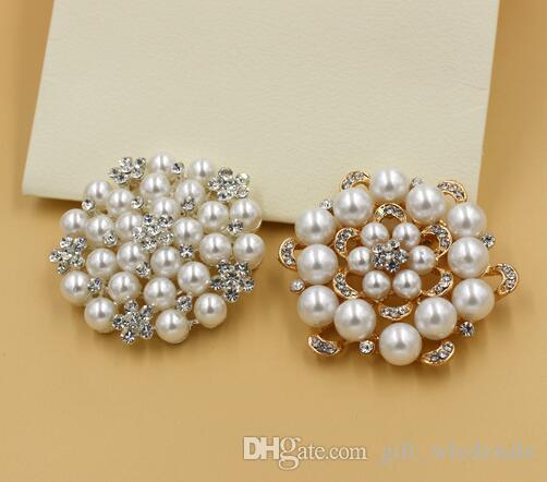 Korean New Fashion Style Brooches Multi-beads Pins Bridesmaid Flower Girl Wedding Pearl Rhinestone 12 colors for choices