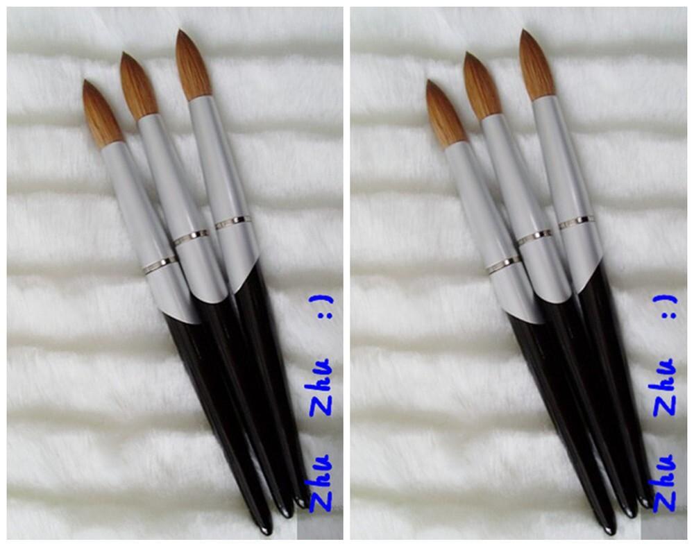 أدوات تصميم جديد أسود مقبض معدني # 10- # 24 Kolinsky جولة شارب المهنية اللوحة مسمار الاكريليك فرشاة 1pcs / lot