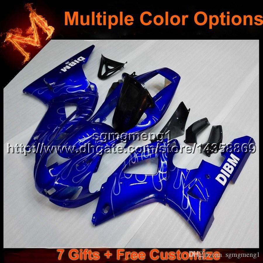 23colors+8Gifts BLUE motorcycle cowl for Yamaha YZF-R1 1998-1999 YZFR1 98 99 ABS Plastic Fairings hull bodywork kit