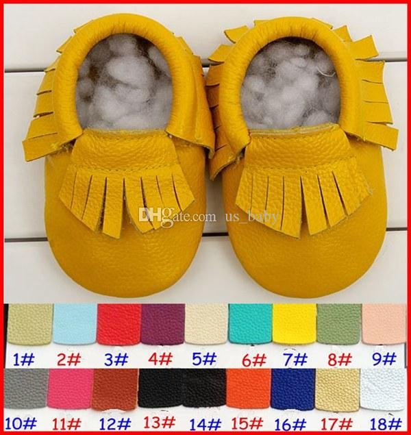 18Pairs baby fringe moccs wholesale baby gold silver moccasins soft leather moccs baby booties toddler shoes 20colors choose freely 0-2years