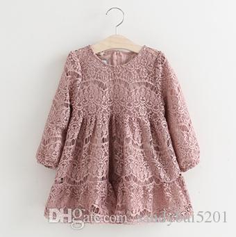 Girls Lace Dresses 2019 Spring Autumn Baby Girls Floral Embroidery Dress Kids Full Sleeve Tutu Dress Children Wholesale CLothing