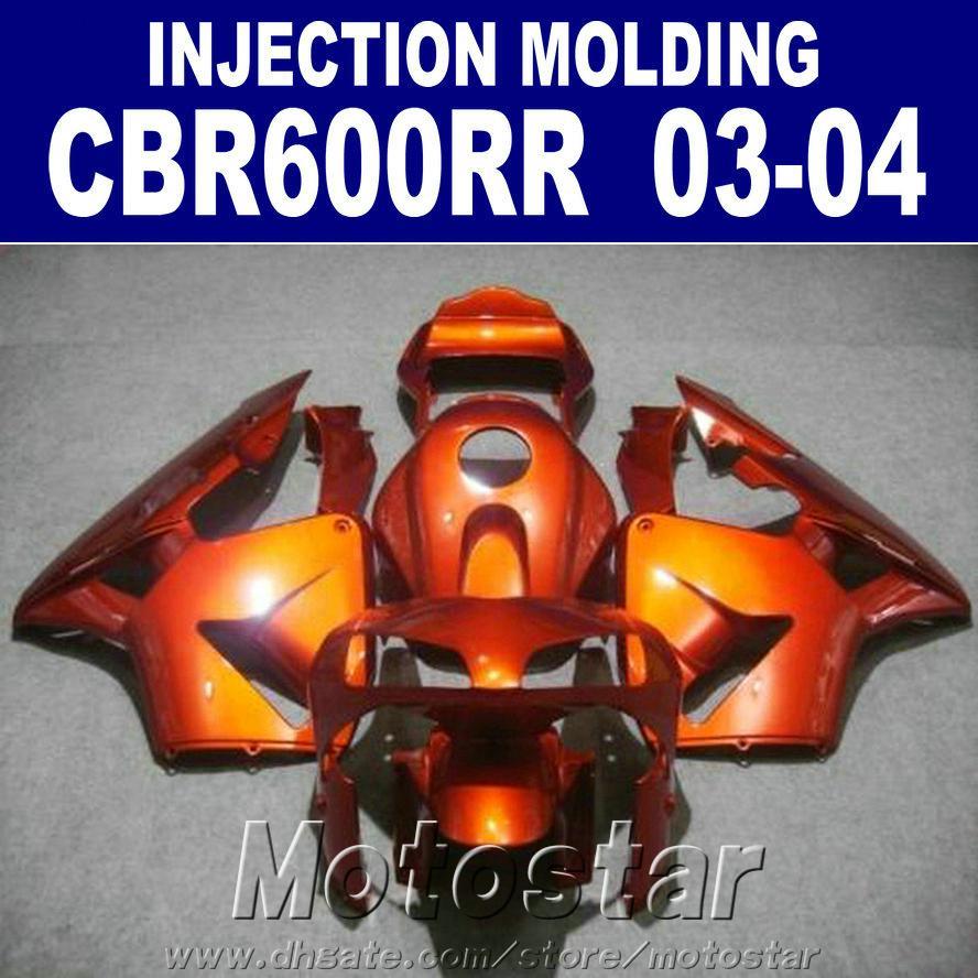Sıcak! 100% Enjeksiyon Kalıplama turuncu HONDA CBR 600RR kaporta turuncu 2004 2003 cbr600rr 03 04 bodykits WJXV için fit