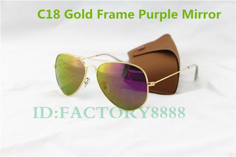 50 unids Por DHL Libre de Alta Calidad UV400 Moda Clásico Vintage Metal Púrpura Espejo Gafas de Sol 62 MM Lente de Cristal Gafas de Sol Con Cajas