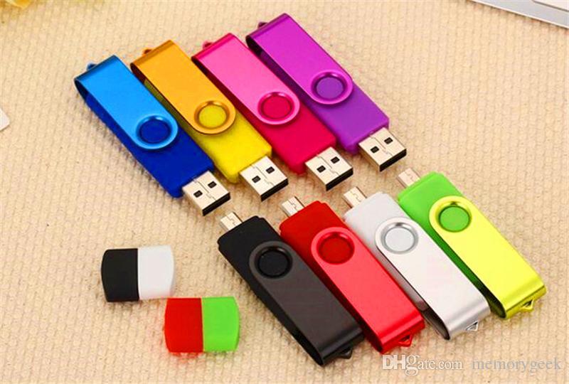 100% Real Capacity 2GB 4GB 8GB 16GB 32GB 64GB 128GB 256 GB OTG externo USB Flash Drive Memory Stick Metal En Embalaje OPP