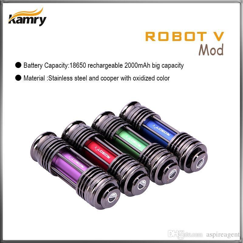 Original Kamry Robot V MODS Authentic Kamry E Elektroniska cigaretter Mech Mechanical Mods med Kick Chip 2000MAH Rechangeable 18650 Batteri