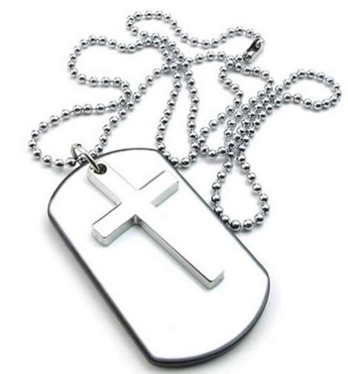Mens Womens Army Style Cross Dog Tag Pendant Necklace 27 inch Chain White Silver Drop Shipping