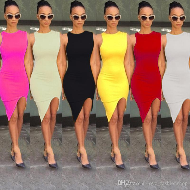 Mujeres Sexy Split Club Vestidos ajustados Señoras Niñas sin mangas fuera del hombro Vintage Night Club Fiesta de baile Mini vestidos Mujer Ropa Ropa