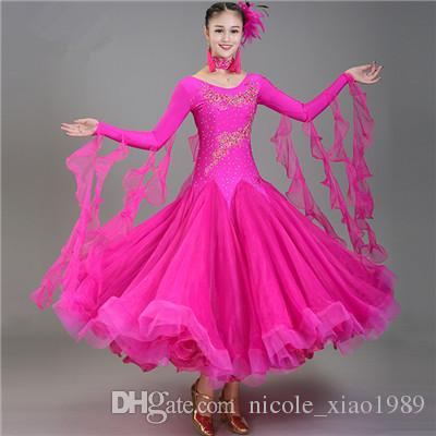 Новый взрослый бальный танец Dress современный Вальс стандартный конкурс танец Dress Sexy с длинным рукавом вышитые горный хрусталь Dress 10Color S-2XL 004